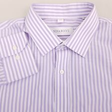 Nina Ricci Men's Dress Shirt Size 16 34/35 Striped Purple White