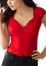 PRE-OWNED GUESS CAP-SLEEVE LACE-TRIM RED CORSET TOP SIZE LARGE