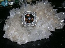 SPECTACULAR LOIS HILL STERLING SILVER SMOKY TOPAZ QUARTZ STATEMENT COCKTAIL RING