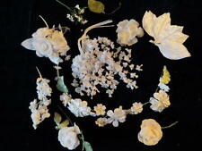 """Vintage Millinery Flower Collection All White w/Garland .5-2"""" For Hat Hair H322"""