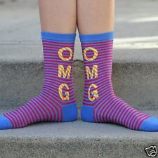 K.Bell OMG Oh My God Red Blue Yellow Stripe Ladies Womans Crew Socks New