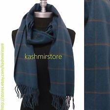 New 100%CASHMERE SCARF Check Plaid Scotland Soft Warm Wool Color Blue/coffee