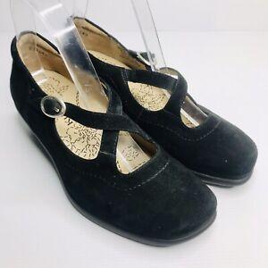KUMFS (Ziera) Size US 6.5W EU 37.5W Black Suede Leather Mary Jane Low Heel Pumps