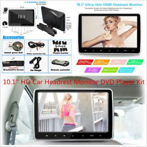 10.1'' HD TFT LCD Screen Car Headrest Monitor DVD Game Player Kit USB/SD/HDMI/FM