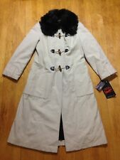 NWT Vintage 70s Retro Womens 10 Fur Lined/Collar Khaki Nautical Rain Trench Coat