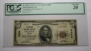 $5 1929 Decatur Illinois IL National Currency Bank Note Bill Ch. #5089 PCGS VF20