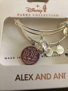 Disney Alex & Ani Bracelet Set of 2 Alice Wonderland We're All Mad Here Cheshire