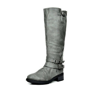 Women's Low Heel Knee High and up Riding Boots Zipper Wide-Calf Shoes Size US