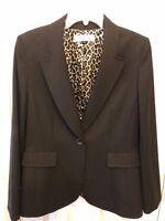 Tahari Dark Brown Womens Blazer Jacket Size 10 Animal Print Lined Notched Collar