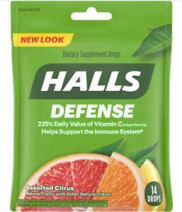 Halls Defense 14-Drops ASSORTED CITRUS Vitamin C Support Immune System EXP 8/22