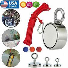 Upto 1300 Lbs Fishing Magnet Kit Pull Force Strong Neodymium + Rope + Carabiner