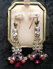 Juicy Couture New Boxed Long Gold Pink Crystal Gemstone Drop Earrings (Pierced)