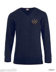 Quality navy light weight V-Neck  jumper in navy  embroidered  masonic design