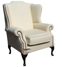 Chesterfield Mallory Saxon Armchair Flat Wing High Back Chair Cream Leather