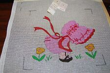 Vtg Yvonne of SF HP Needlepoint Canvas VICTORIAN GIRL 13x12 Thread & Guide