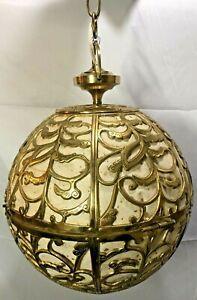 Vintage Brass Japanese Karakusa Hanging Globe Paper Lantern Swag Light Lamp RARE