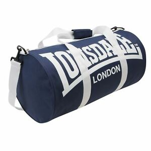 Lonsdale Barrel Bag Navy/White Sports Kit Holdall Carryall Gymbag