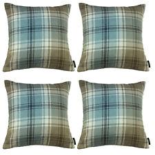 McAlister Textiles Designer Angus Tartan Check Duck Egg Blue Cushion Set of 2 &4