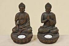 Buddha Teelichthalter 2er Set je 19 cm Figur Modell Kerze Teelicht Neu