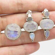 925 Sterling Silver Natural Moonstone Gemstone Earrings & Ring Size 6.5 Set