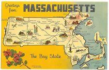 Massachusetts  Map Postcard 1960's - Mayflower - The Bay State   - unused
