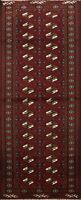 Geometric Traditional Bokhara Runner Rug Hand-knotted Oriental Staircase 2'x6'