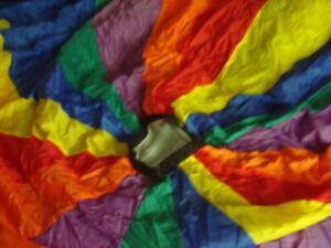 Fun Colorful Nylon Parachute   20 feet  20 Handles    with Nylon Case