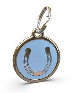 Pet Dog Cat ID Engraved Name Tag Personalised Stainless Steel L Blue Horseshoe