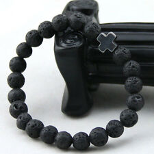 Men's Beaded Yoga Jewelry 8mm Natural Lava Stone Beads Cross Bracelet Party Gift