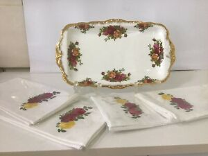 Large Royal Albert Old Country Roses Tray + 4 Matching New Napkins