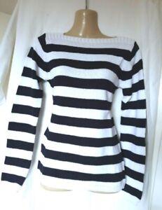 La Redoute Slash Neck Cotton Striped Jumper Size 6 - 8 UK (EU 34-36_