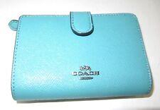Coach Blue Green Cross Grain Leather Medium Corner Zip Wallet F11484 NWT $165