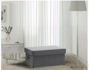 IKEA Ektorp Footstool Slipcover Nordvalla Dark Gray Ottoman Cover 303.223.15