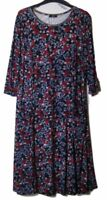 New M&Co Rose Print Side Pocket  Ditsy Jersey Dress - Uk Size 8 - 22