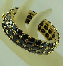 FASHION JEWELRY GEMS 14K YELLOW GOLD BLACK ONYX lady girl BANGLE BRACELET A42