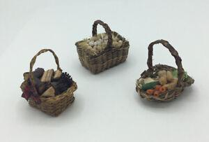 Three Dolls House Baskets Of Food