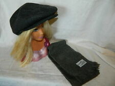 Unisex Men's wool Beret Caddie Snap hat cap Shouffer Cashmillion scarf 50 x 12