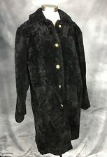 Women's Siena Studio Black Genuine Sheepskin Shearling Pea Coat M L Soft Warm