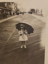 Vintage 1920's Small Girl Holding Umbrella on the Boardwalk Photo Velox Photo