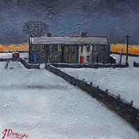 James Downie Original Oil Painting - Snowy Rural Landscape With Man Walking Dog
