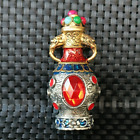 Ancient Chinese Silver and Red Faceted Gemstone Art Snuff Bottle
