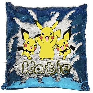 Personalised Pokemon Pikachu Reveal Sequin Cushion Cover - Boys/Girls