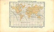 Mappemonde mappa mundi Carte Température Terre Earth GRAVURE ANTIQUE PRINT 1874