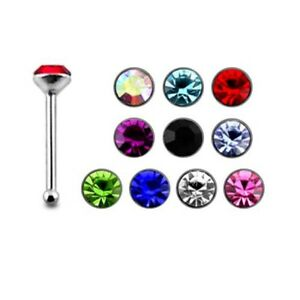 10 Pieces 22G 6mm 925 Sterling Silver 2mm Jeweled Cubic zirconia Nose Bone Stud