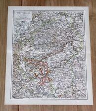 1905 ORIGINAL ANTIQUE MAP OF WURTTEMBERG STUTTGART HOHENZOLLERN GERMANY