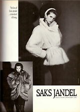 1987 Elle Macpherson Saks Jandel Furs Fashion Advertisement Ad Vintage VTG 80s