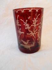 Ancien verre gobelet décor cerf oiseau , Bohême , baccarat , St Louis