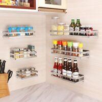 Kitchen Wall Shelf Storage Organizer Shelf Spice Rack Punch Free Stainless Steel