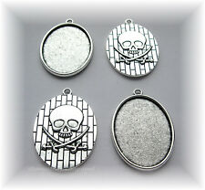 4 Ant. Silvertone Goth SKULL 40mm x 30mm CAMEO Costume PENDANTS Frames Settings
