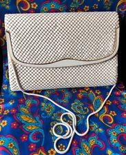 Vintage Retro 70s White Chain mesh snake skin shoulder Strap Bag